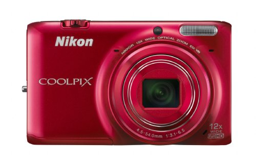 Nikon COOLPIX S6500 16 MP Digital Camera with 12x Zoom and Built-In Wi-Fi (Red)