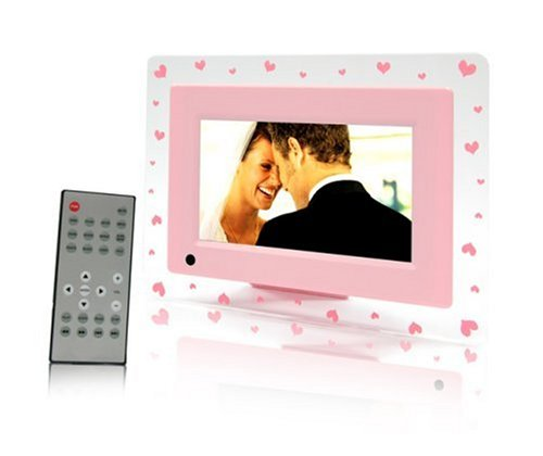"ATMT 7"" LCD Pink Hearts Digital Photo Frame With MP3/MP4 & Remote Control"