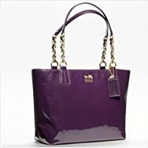 Hot Sale Coach Madison Patent Leather Zip Tote Bag 20484 Aubergine Purple