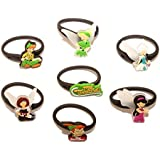 7 pcs Peter Pan Tinkerbell Set of Releasable Ponytail Holder Elastic Rubber Stretchable No-slip Hair Tie