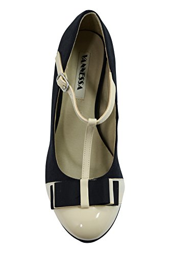 Vintage Inspired Retro Pin-up Black & Cream Two Tone Bow Accent T-strap Mary Jane Platform Stiletto Pumps 5