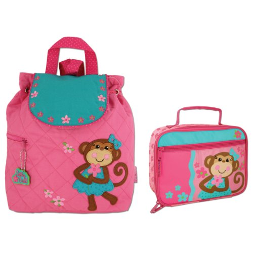 Stephen Joseph Quilted Girl Monkey Backpack and Lunch Box - Toddler Backpacks - Preschool Backpacks