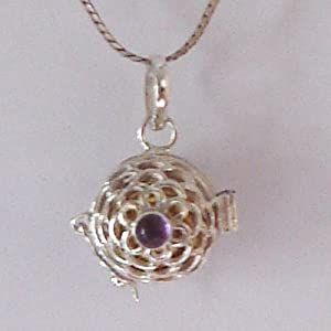 Solid 925 St Sterling Silver Purple Amethyst February Birth Stone Colored CZ Cubic Zirconia Stone Harmony Ball Musical Chime Pendant Necklace 20MM In Diameter Made In Bali By Master Silver Smiths On A Beautiful 925 St Sterling Silver Heavily Plated Chain