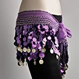 100% Handmade Belly Dance Hip Scarf Purple, Gold Coins Lively Style