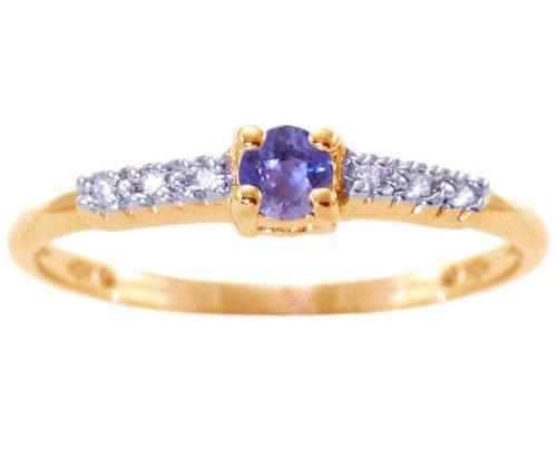 14K Yellow Gold Petite Round Gemstone and Diamond Promise Ring-Iolite, size5.5