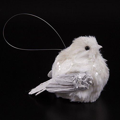 Plump glitzernd, Weiß, Motiv: Vogel, zum Aufhängen