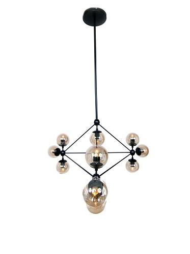 Kirch & Co. Barrista 10-Light Pendant, Black/Clear