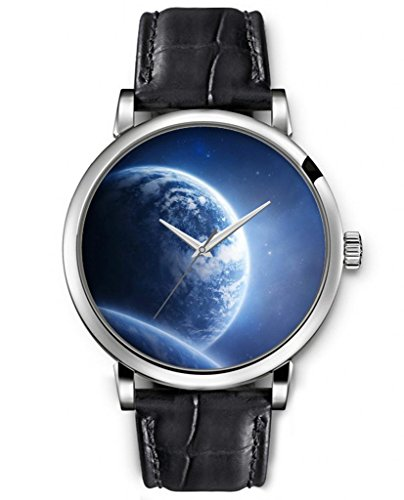 SPRAWL Analog Quartz Ladies Women Top WristWatch Silver Large Face Black Leather -- Blue Sparkle Planet Galaxy Watches