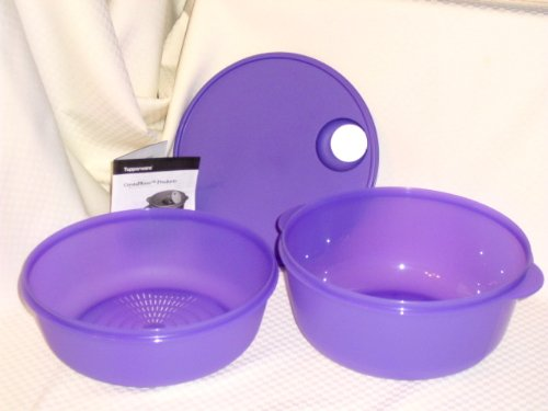 Tupperware CRYSTALWAVE Bowl + STEAMER Colander Set Microwave Family 4Qt Size NEW (Extra Large Tupperware Bowl compare prices)