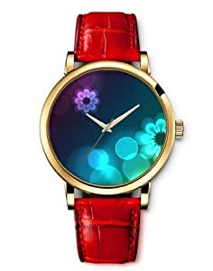 iCreat Women Ladies Girls Analog Wrist Watch Red Genuine Leather Strap Dial with Beautiful flower