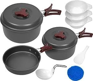 Aluminium Camping Kochgeschirr Set in verschiedenen Ausführungen Farbe 10-teilig