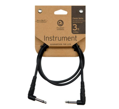Planet Waves PW-CGTPRA-03  1/4-Inch Right Angle Instrument Cable (3 feet)