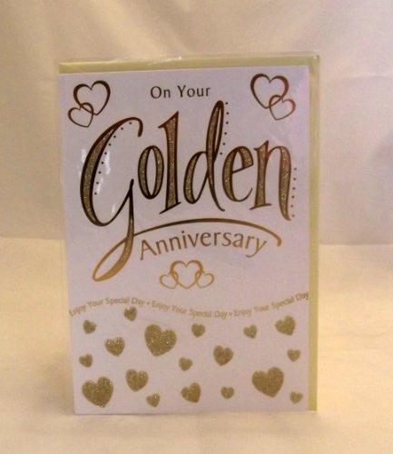 50. Golden Anniversary Grußkarte. 50. Jahrestag Karte. Golden Anniversary Karte