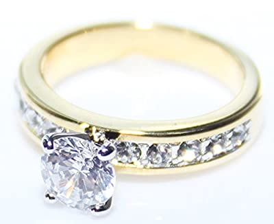 Free Engraving Of Your Choice! BLOW OUT SALE! Sizes P, Q, R, S, T & U! Ah! Jewellery. Beautiful Lab Created Flawless Diamond 6mm Brilliant Round Ring. Stunning Heavily Gold Electroplated. Excellent Quality.