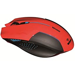 Mibru Nidhogg Ergonomic Computer Gaming Red Mouse - Usb - 2400 Dpi - Scroll Wheel - Right-Handed Only \