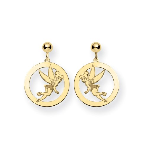 Gold-plated SS Disney Tinker Bell Round Dangle Post Earrings - JewelryWeb