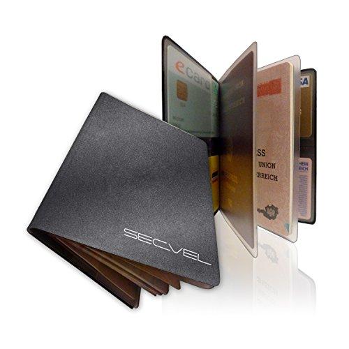 """SECVEL Porta passaporto """"Premium"""" - protezione RFID/NFC & campi magnetici (per 1 passaporto, 4 carte, documenti o banconote) - Meteor"""