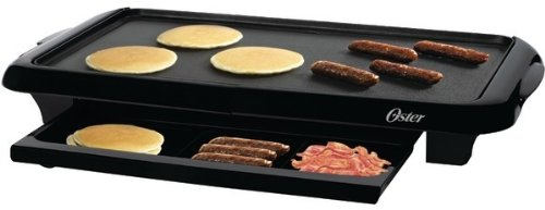 Oster CKSTGRFM-1018 10 by 18-1/2-Inch Griddle with Warming Tray, Black