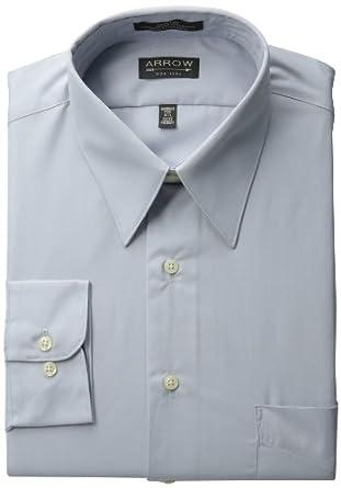 Arrow Mens Poplin Dress Shirt, Seal, 18/32-33