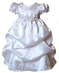 Satin Puffed Skirt Christening Dress 0-6M Sm (kid B574)(White)