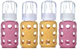 Lifefactory Glass Baby Bottles 4 Pack (4 oz. in Girl Colors) - Pink/Yellow