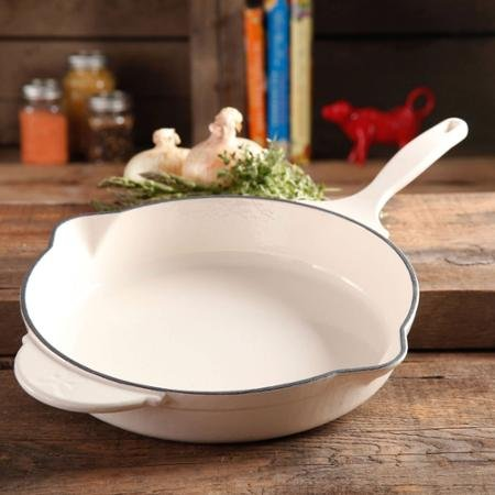 Pioneer Woman Cast Iron Skillet Enamel Coated (White)