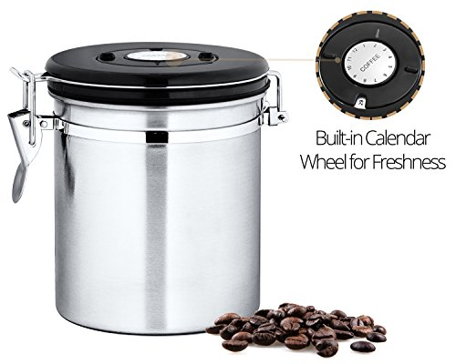 Chefs-Star-Stainless-Steel-Airtight-Canister-with-Built-in-CO2-Gas-Vent-Valve-and-Date-Tracking-Wheel-for-Coffee-Beans-and-Coffee-Grounds