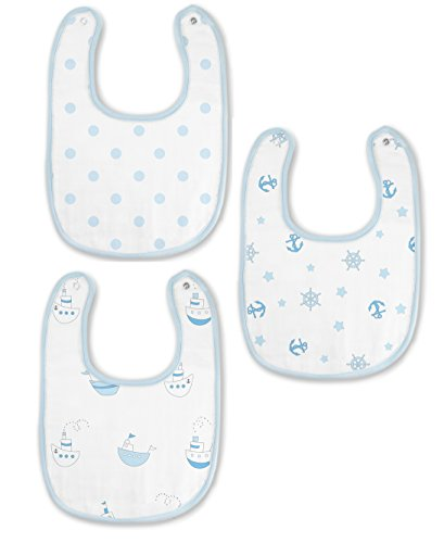 SwaddleDesigns Muslin Bib, Ships Ahoy! (Set of 3 in Pastel Blue)