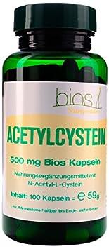 Bios Naturprodukte Acetylcystein 500 mg, 100 Kapseln, 1er Pack (1 x 88 g)