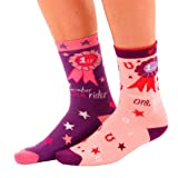 Carrots Women's Calf Sock Twin Pack Rossette - Purple/Pink, UK 4-7