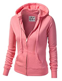 J.TOMSON Womens Athletic Basic Long Sleeve Zip-Up Hoodie