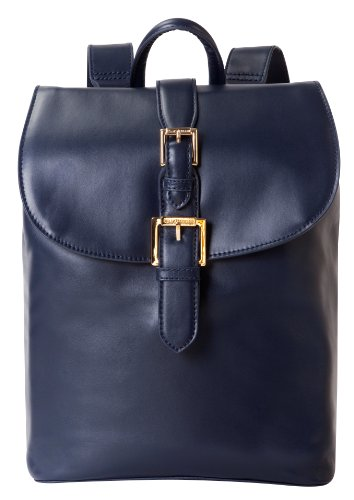 Isaac Mizrahi Kathryn mini Camera Backpack in Genuine Leather for DSLR Cameras, Lenses, Accessories and Other Tech Items-with Removable Internal Padded Pouch, Blue