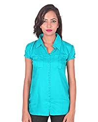 PurpleYou Women's Plain Shirt (D5WTBL000, Blue, Small)