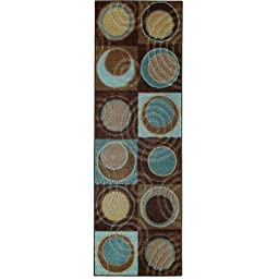 Better Homes and Gardens Circle Block Runner Rug with Circle and Checkerboard Pattern