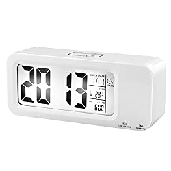 Tigervivi® Rechargerable USB Charging Desk Digital Backlight Temperature Date Display Repeating Light Snooze Touch Alarm Clock Built-in Battery and Charging Cable (White)