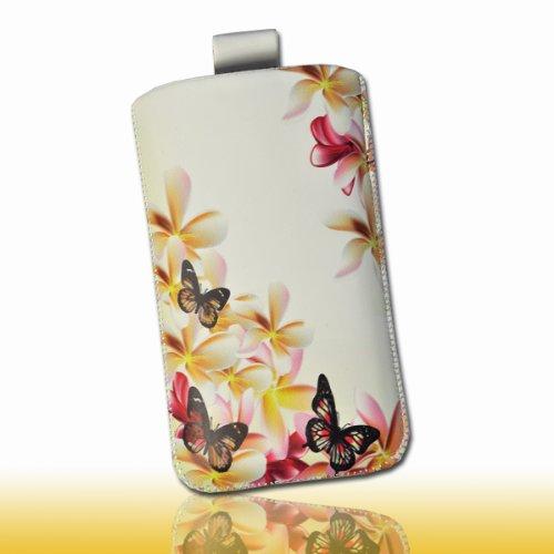 Handy Tasche Hülle Case weiß / pink / gelb Butterfly Blumen DK1 Gr.3 für Samsung C3312 Rex60 / S5222R Rex80 / Galaxy Young S6310 / Galaxy Young Duos S6312 / Galaxy Pocket Plus S5301 / Samsung Galaxy Pocket Neo S5310 / Alcatel OT 903D / Alcatel OT Star 6010D