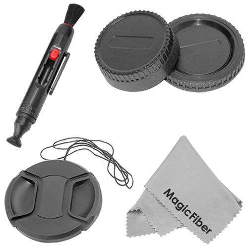 Protection Accessory Kit For Nikon Dslr D5300 D5200 D5100 D3200 D3100 D3000 D7100 D7000 D300S D90 D80 - Includes: Rear Lens Cap + Camera Body Cover Cap + Center-Pinch Lens Cap + Lens Cleaning Pen + Premium Magicfiber Microfiber Cleaning Cloth