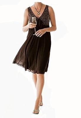 Heine Damen-Kleid Babydoll-Abendkleid Braun