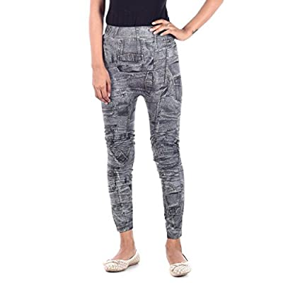 Spadille Women's Black Jeans Printed Jeggings (Free_Size_26-32)