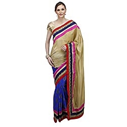 Heart and Arrow women's creape bandhani embroidered sari saree [2024_multicolor]