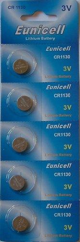 Eunicell Lot de 5 piles bouton lithium CR1130 3 V