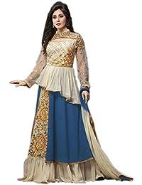 Aryan Fashion Designer Blue & Off White Georgette Salwar Kameez With Dupatta For Women & Girls Party Wear For...