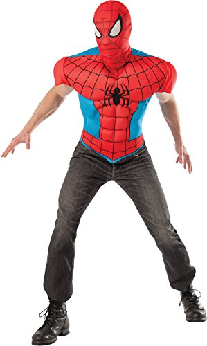 Rubie's Costume Men's Marvel Universe Adult Spider-man Eva Muscle Chest T-shirt and Eye Mask, Multi, Standard