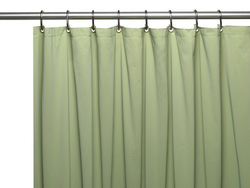 Carnation Home Fashions 3-Gauge Vinyl Shower Curtain Liner with Weighted Magnets and Metal Grommets, 72'' x 72'', Sage (Shower Liner Green compare prices)