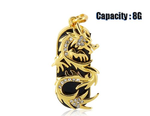 JMC089 8GB Dragon Design USB Flash Drive with Jewelry Surface (Gold)