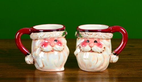 Santa Claus Coffee Mugs, Set of Two