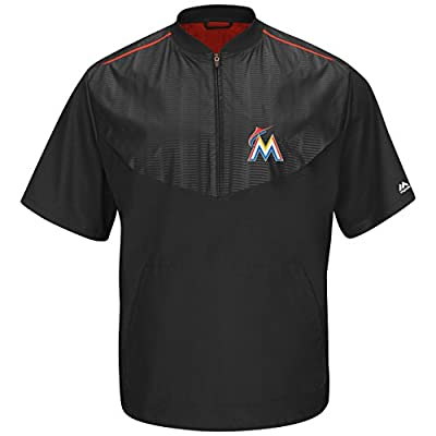 Miami Marlins Black On-Field Short Sleeve Training Jacket by Majestic