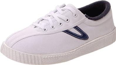 Tretorn Nylite Canvas Sneaker (Little Kid/Big Kid),White/Estate Blue,4 M US Big Kid