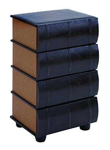 Deco 79 Table Top Drawers As Smooth Leather Books