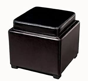 Baxton Studio Full Leather Square Storage Ottoman with Reversible Tray, Black